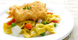 Yellow Curry Farfalle with Fried Chicken